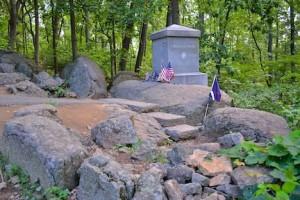 Granite monument at Gettysburg dedicated to the 20th Maine Regiment, Thomas Conroy