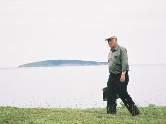 Alistair MacLeod walking to his writing shack