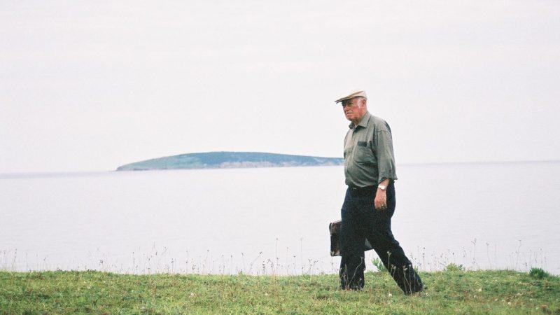 Alistair MacLeod walking to his writing shack