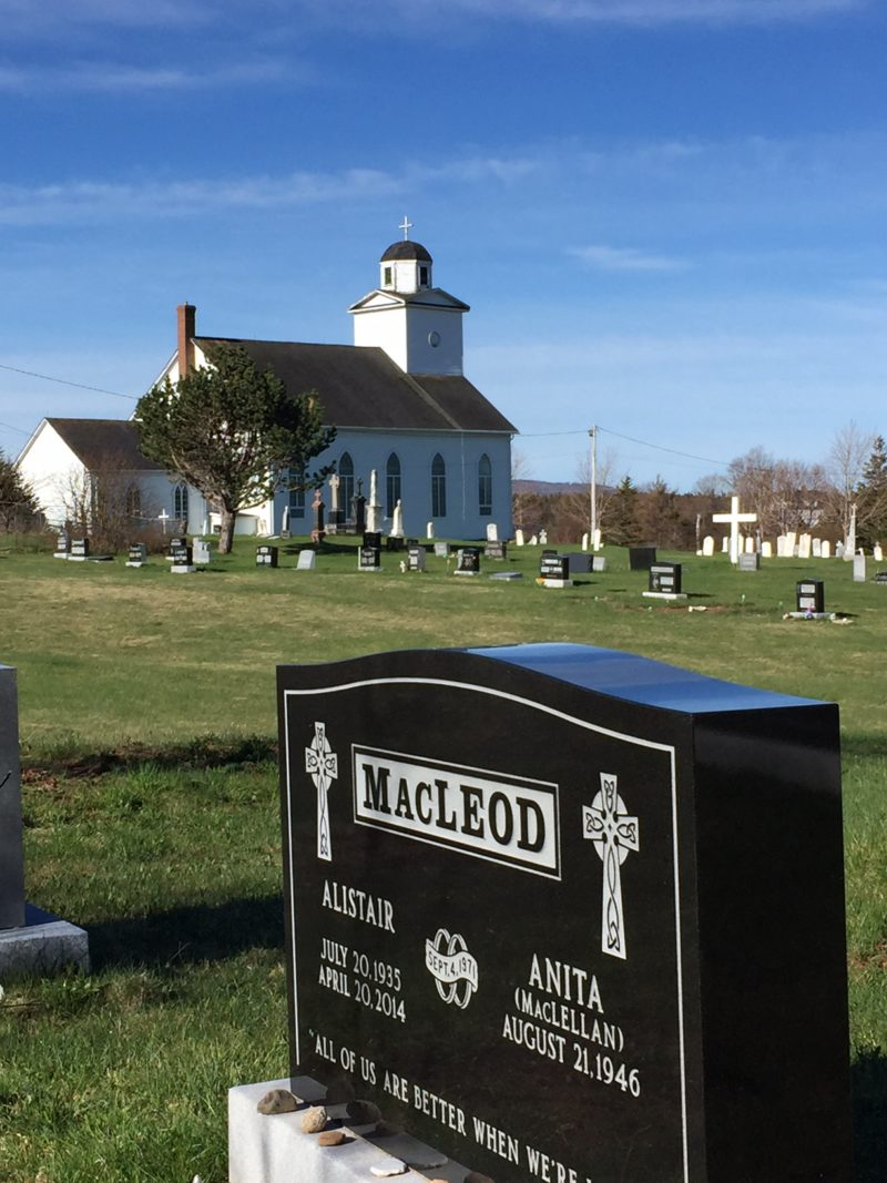 Alistair MacLeod's grave in St. Margaret's Church cemetery