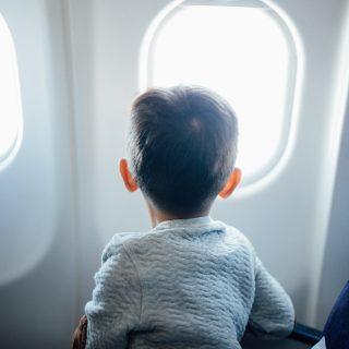 Boy on an airplane