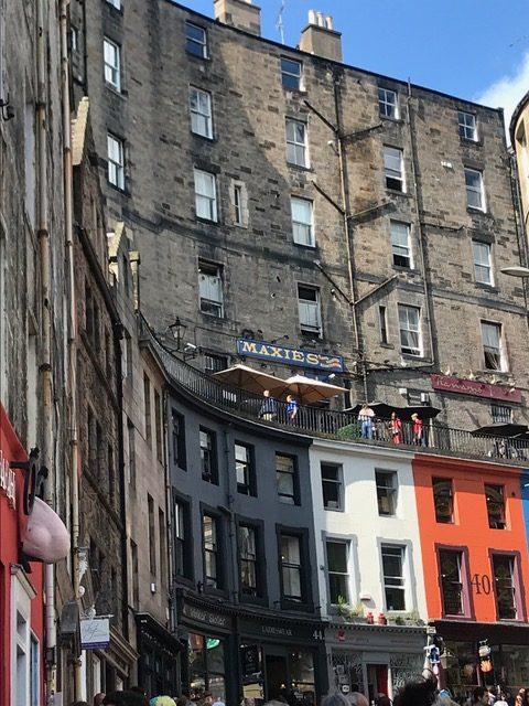 The West Bow, Victoria Street spotlights Edinburgh's early 19th century architecture.