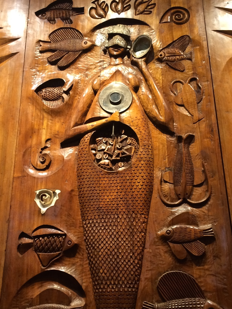 The Goddess Yemanja as a wooden mermaid in the Museu Afro-Brasileira in Pelourinho, the central square of Salvador